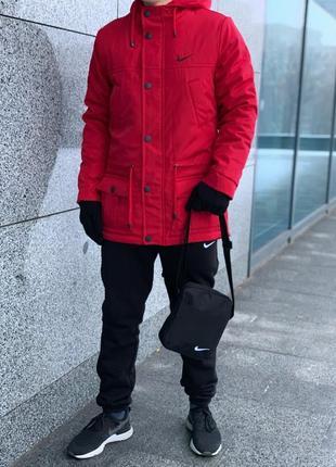 Комплект парка красная + штаны теплые + барсетка и перчатки в подарок!