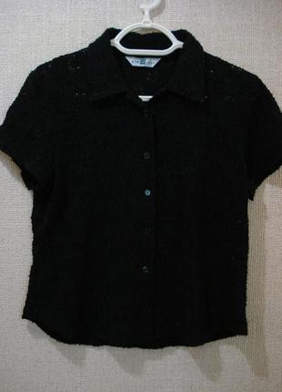 Кружевная блузка с воротником и коротким рукавом 16 (xxl)