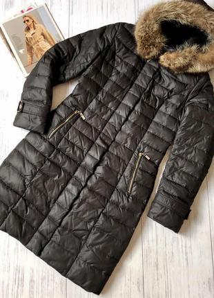 Стильный пуховик пальто с натуральным мехом andy fair l
