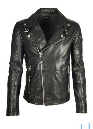 Стильная натуральная кожаная куртка косуха h&m байкерская классика