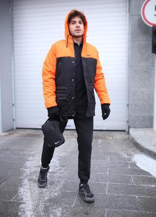 Парка nike оранжево-черная зимняя+штаны теплые найк+барсетка и перчатки в подарок.комплект