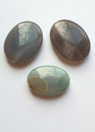 Набор бусин агата, овальной формы (3 штуки)