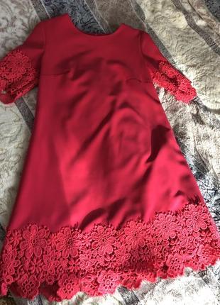 Плаття сукня платье трапеция с дорогим кружевом