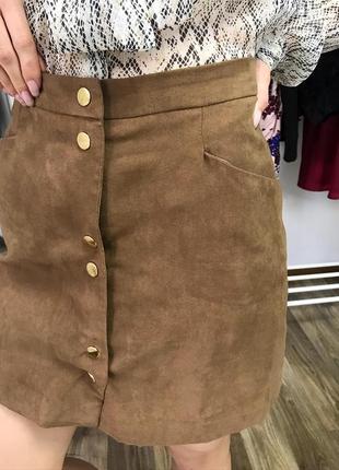 Стильная юбка под замшу miss selfridge