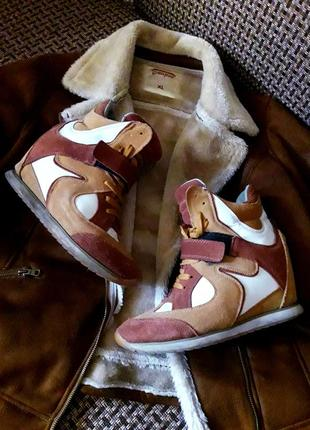 Уникальные комбинированные замшевые маранты/хайтопы/сникерсы sneakers skechers.