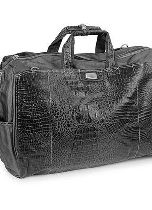 Черная дорожная женская сумка саквояж под кожу крокодила