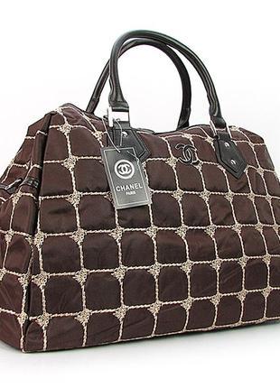 Коричневая дорожная женская сумка саквояж большая ch-5340 bro