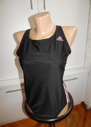 Adidas купальник спортивный сдельный слитный цельный uk14 eur42 оригинал