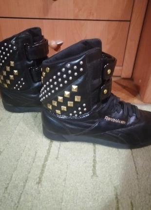 Стильные высокие кожаные кроссовки ботинки хайтопы 39-40р