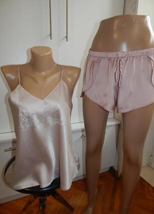 H&m пижама атласная скомбинированная майка с шортиками рs/m