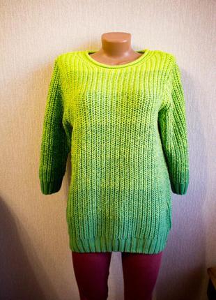 Салатовый с зеленым свитер градиент вызанный