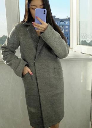 Пальто серое демисезон осень зима шерсть 100%