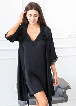 Черная шелковая ночнушка с халатом