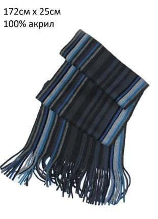Яркий полосатый шарф с бахромой 172х25