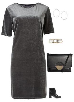 Велюровое бархатное платье шифт футляр от m&s limited collection