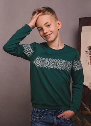 Зеленый трикотажный свитшот с вышивкой для мальчика