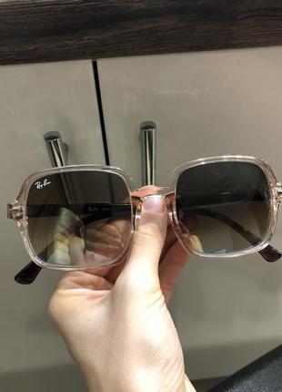 Стильные очки, солнцезащитные, квадратные, нюдовые, бежевые, ray ban