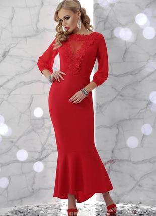 Эллегантное длинное вечернее красное длинное  платье шикарное роскошное на корпоратив