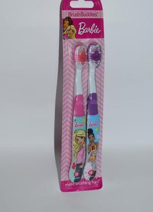 Набор 2 зубные щетки с барби buddies barbie toothbrush 2 pack 3-8 лет soft оригинал сша
