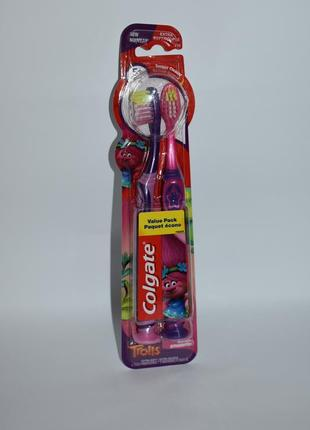 Набор 2 зубные щетки на присосках тролли colgate toothbrushes 2 pack 5+ extra soft