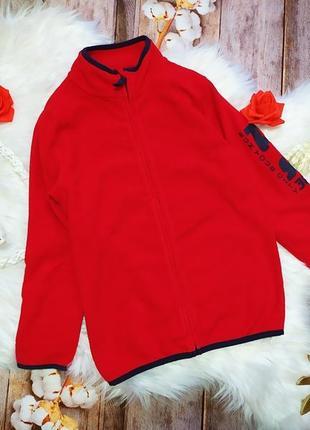 Красная флисовая теплая кофта topolino на рост 128 см, 8 лет