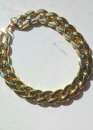 Колье крупная цепь ожерелье золотистое серебристое новое