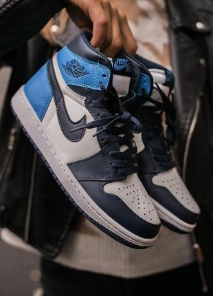 Шикарные кроссовки унисекс nike air jordan retro 1 blue