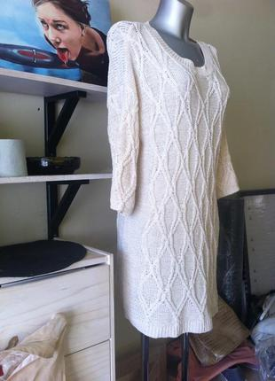 Бежевое вязаное платье в косы 10-12 от zara