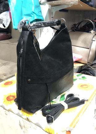 Замшевпя сумка-мешок,мягкая сумка с натуральной замшей