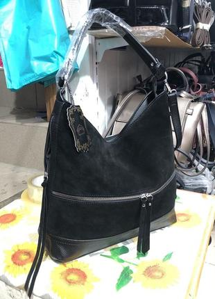 Женская мягкая замшевая сумка- мешок