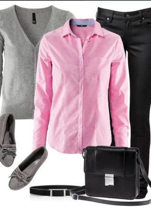 Большой выбор вещей до 100грн/стильная котоновая  розовая рубашка 44 р.