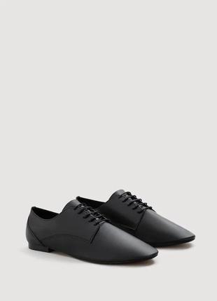 100% кожаные мягкие туфли женские на шнурках, дерби 37 mango оригинал