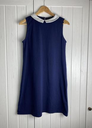 Платье, сарафан трапеция синий с воротничком, в школ ном стиле