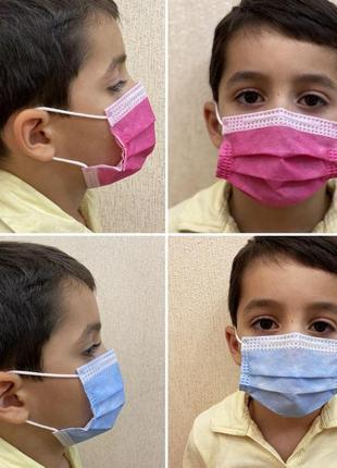 Маска детская медицинская, защитная. 3-х слойная. фабричная