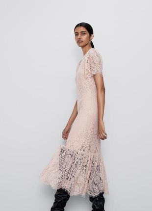 Нежно розовое кружевное платье zara2 фото