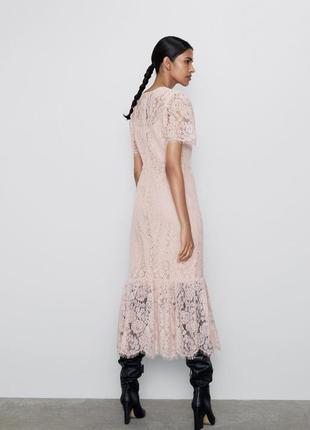 Нежно розовое кружевное платье zara8 фото