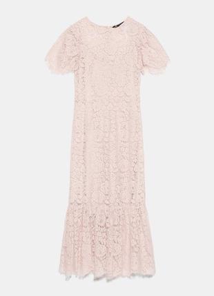Нежно розовое кружевное платье zara3 фото
