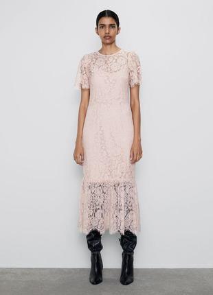 Нежно розовое кружевное платье zara4 фото