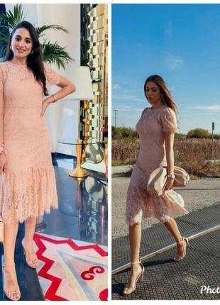 Нежно розовое кружевное платье zara1 фото