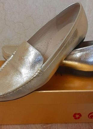 Туфли лоферы женские кожаные vigotti kors р.36 (23,5см.) золото турция