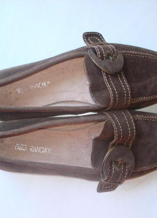 Кожаные замшевые туфли лоферы tres ranchos