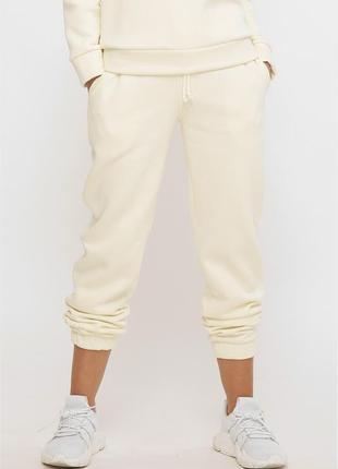Женские теплые спортивные белые штаны брюки на флисе из трехнитки (st-100e fupp)