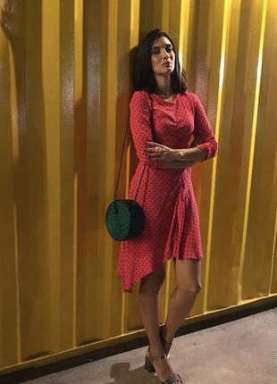Новое платье zara розовое горох вискоза фуксия сукня