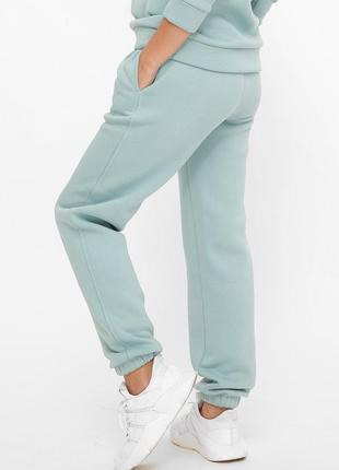 Женские теплые спортивные бирюзовые штаны на флисе из трехнитки (st-100t fupp)