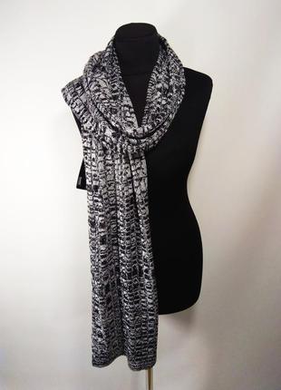 Теплый шарф косы меланж чёрно-белый унисекс новый качественный