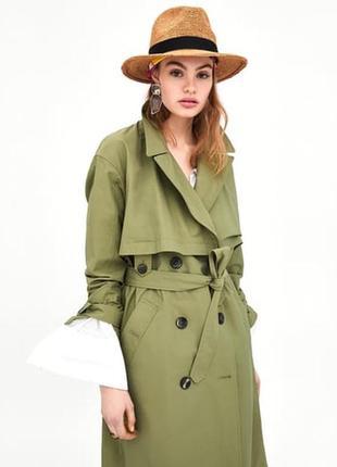 Зеленый оверсайз тренч zara, плащ, пальто