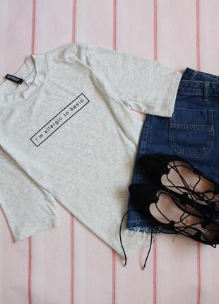 Базовый серый топ \ футболка в рубчик с надписью от h&m