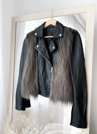Косуха кожаная куртка с мехом