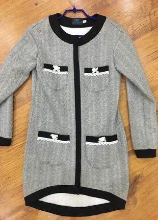 Серый кардиган пиджак