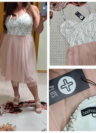 Платье на бретелях boohoo с фатиновой юбкой/фатиновое платье